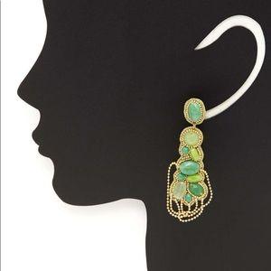 Susan Dai Amalfi Green Glass/Resin Drop Earrings